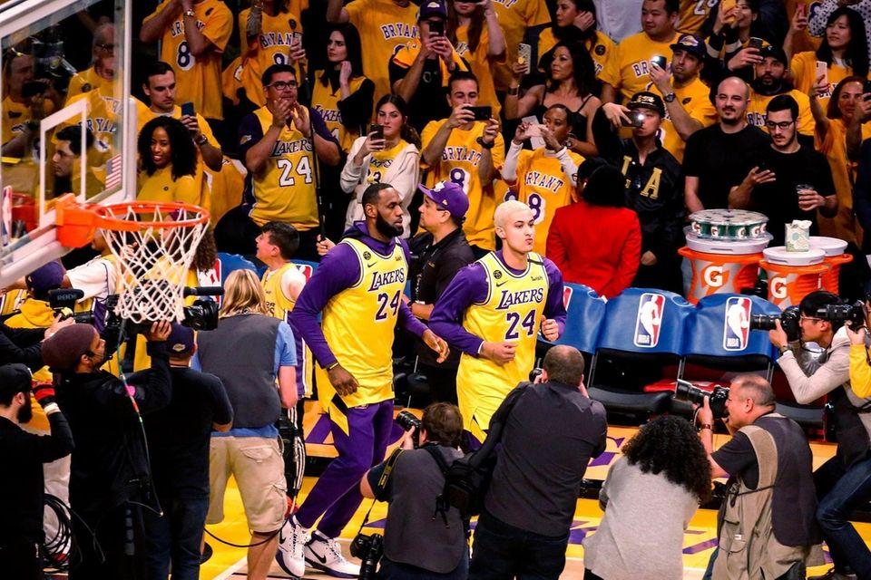 Los Angeles Lakers' LeBron James and Kyle Kuzma