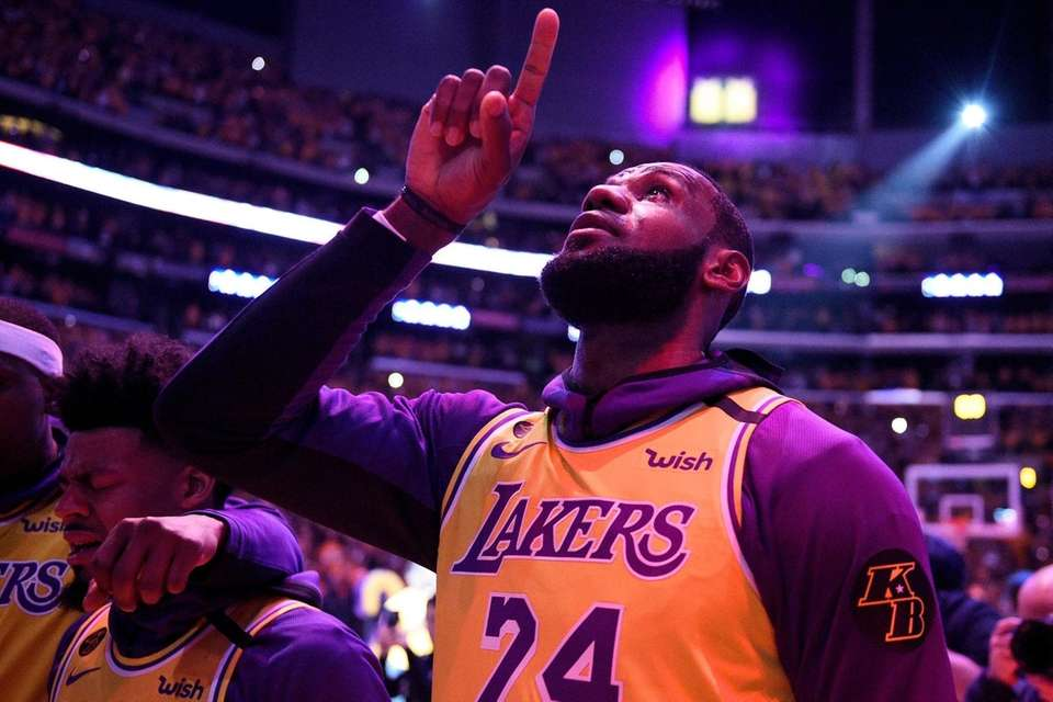 Los Angeles Lakers' LeBron James, wearing a No.