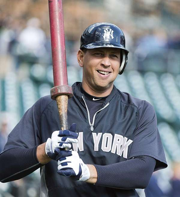 Alex Rodriguez warms up during batting practice before