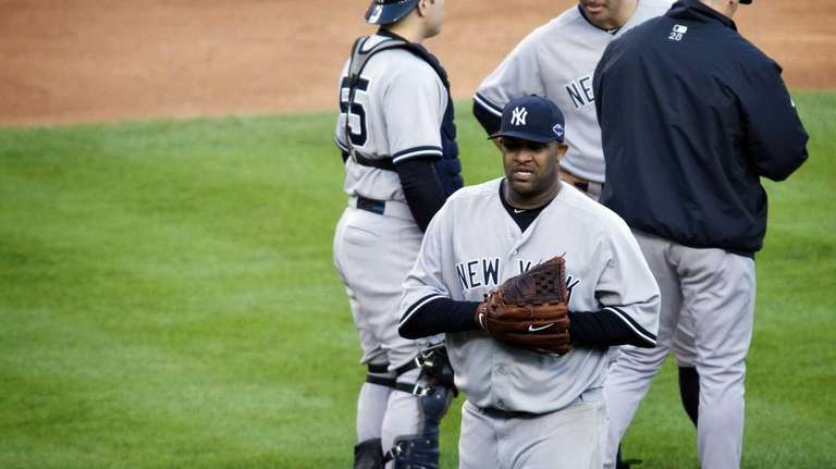 CC Sabathia is taken out of the game