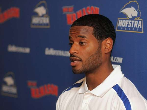 Hofstra University guard Stevie Mejia speaks during the