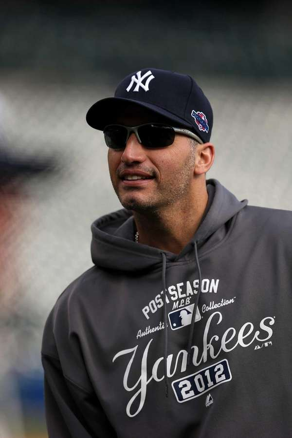 Andy Pettitte looks on during batting practice before