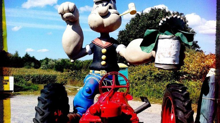 Popeye advertises spinach at the Hayground Market farm