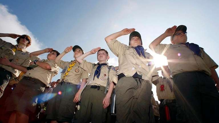 Boy Scouts salute during New Jersey's Boy Scouts