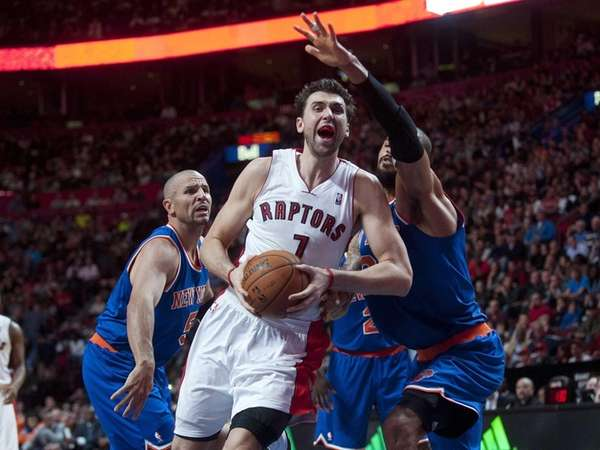 Toronto Raptors' Andrea Bargnani drives to the net