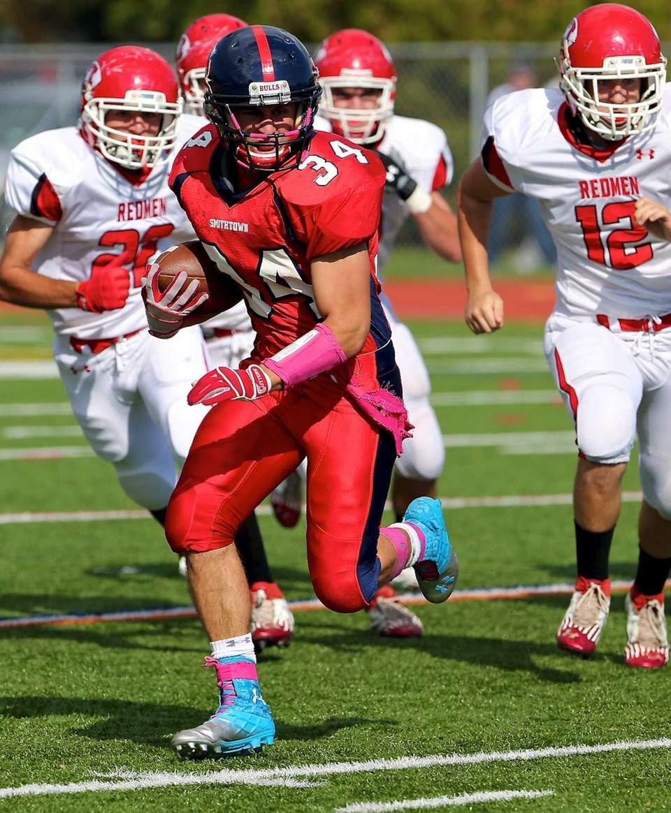 Smithtown East running back Jake Koppelman cuts to