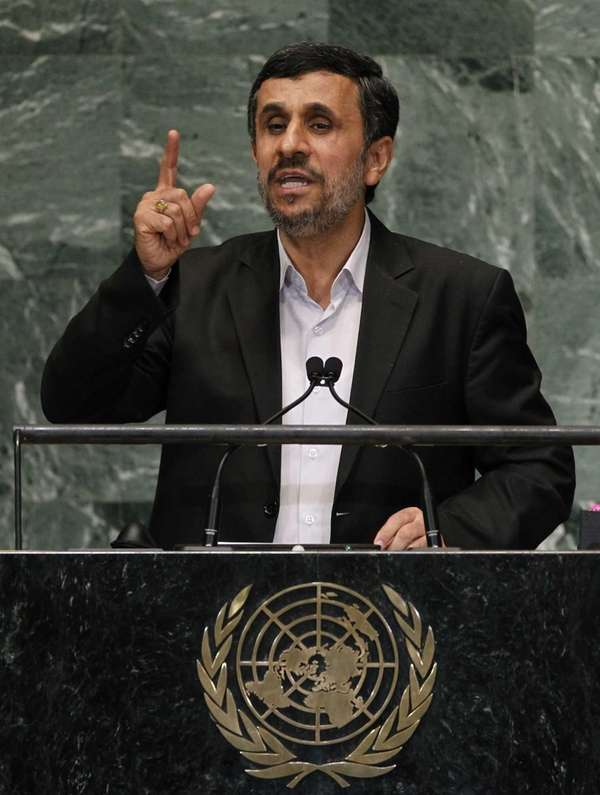 Mahmoud Ahmadinejad, President of Iran, addresses the 67th