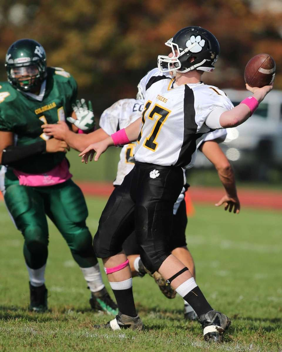 Northport quarterback Sean Gilroy throws a pass in