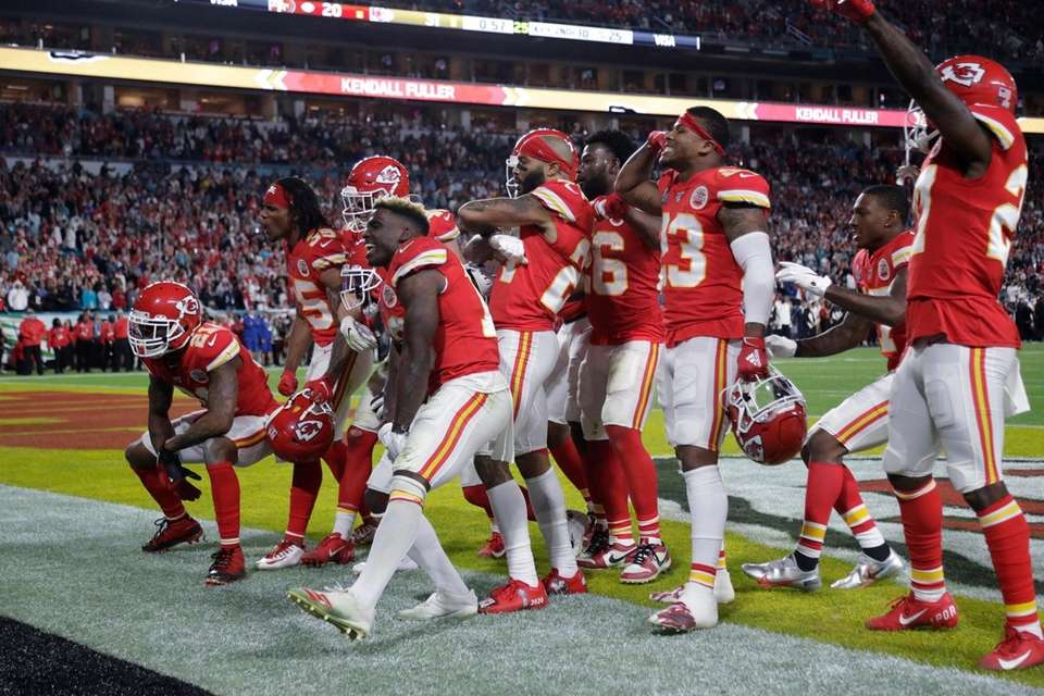 Kansas City Chiefs players celebrate during the second