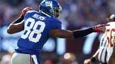 Hakeem Nicks celebrates a first down in the