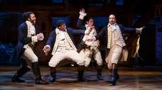 Daveed Diggs, left, Okieriete Onaodowan, Anthony Ramos and