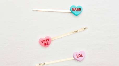 Candy heart-shaped bobby pins; $9.99 by Aerie.
