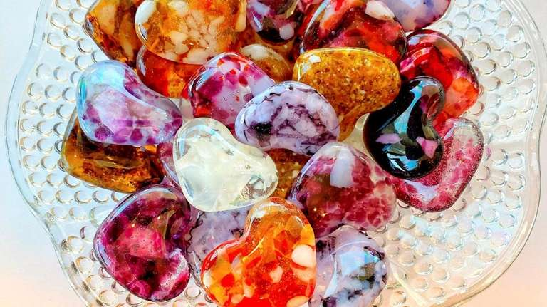 Glass hearts by Garden City-based artist Pamela Jean