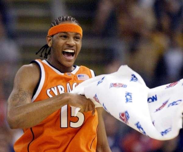 Syracuse's Carmelo Anthony celebrates during the first half