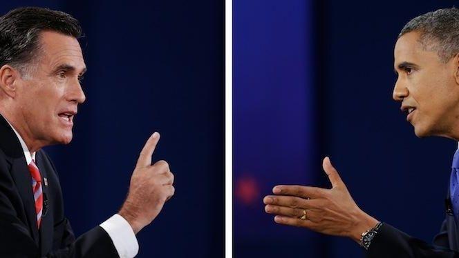 Republican presidential nominee Mitt Romney, left and President