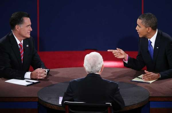 President Barack Obama debates with Republican presidential candidate