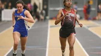 Freeport's Alexandria Yarbrough (right) wins the 55 meter