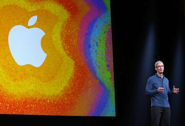 Apple CEO Tim Cook speaks during Apple's special