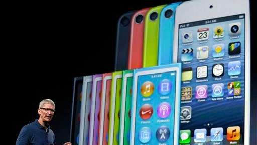 Apple CEO Tim Cook speaks during an event