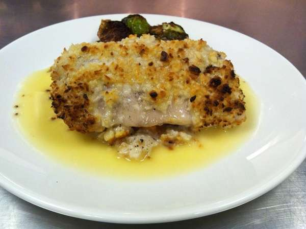 Macadamia-coconut crusted mahi-mahi at Legal Sea Foods. (Oct.