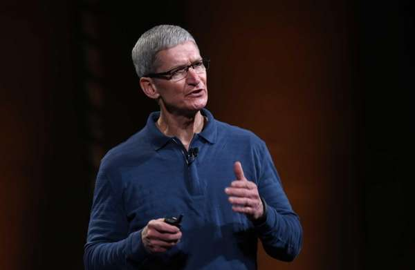 Apple chief executive Tim Cook speaks during Apple's