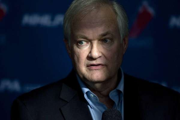 NHL players' association head Donald Fehr speaks to