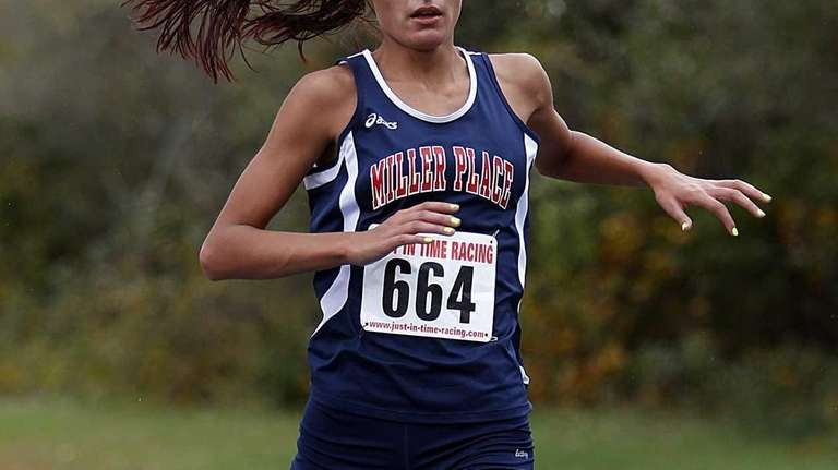 Miller Place's Tiana Guevara finishes first with a