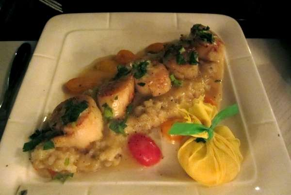Day boat scallops on a dish at Graceful