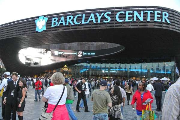 A large crowd gathers outside the Barclays Center