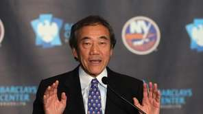 New York Islanders owner Charles Wang announces the