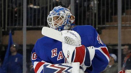 Alexandar Georgiev of the Rangers looks on after