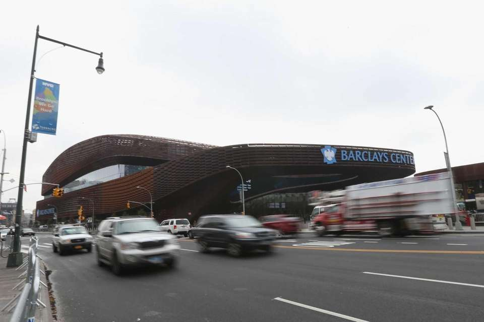 A general view outside the Barclays Center on