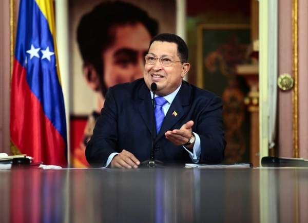 Venezuelan President Hugo Chavez speaks at the presidential