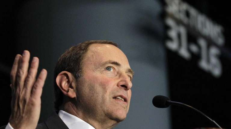 NHL commissioner Gary Bettman speaks during a press