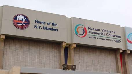 An exterior view of Nassau Coliseum before the
