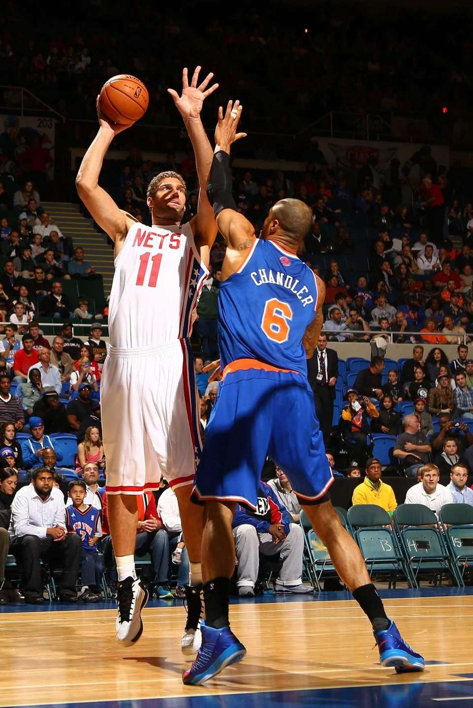 Brook Lopez of the Brooklyn Nets shoots against