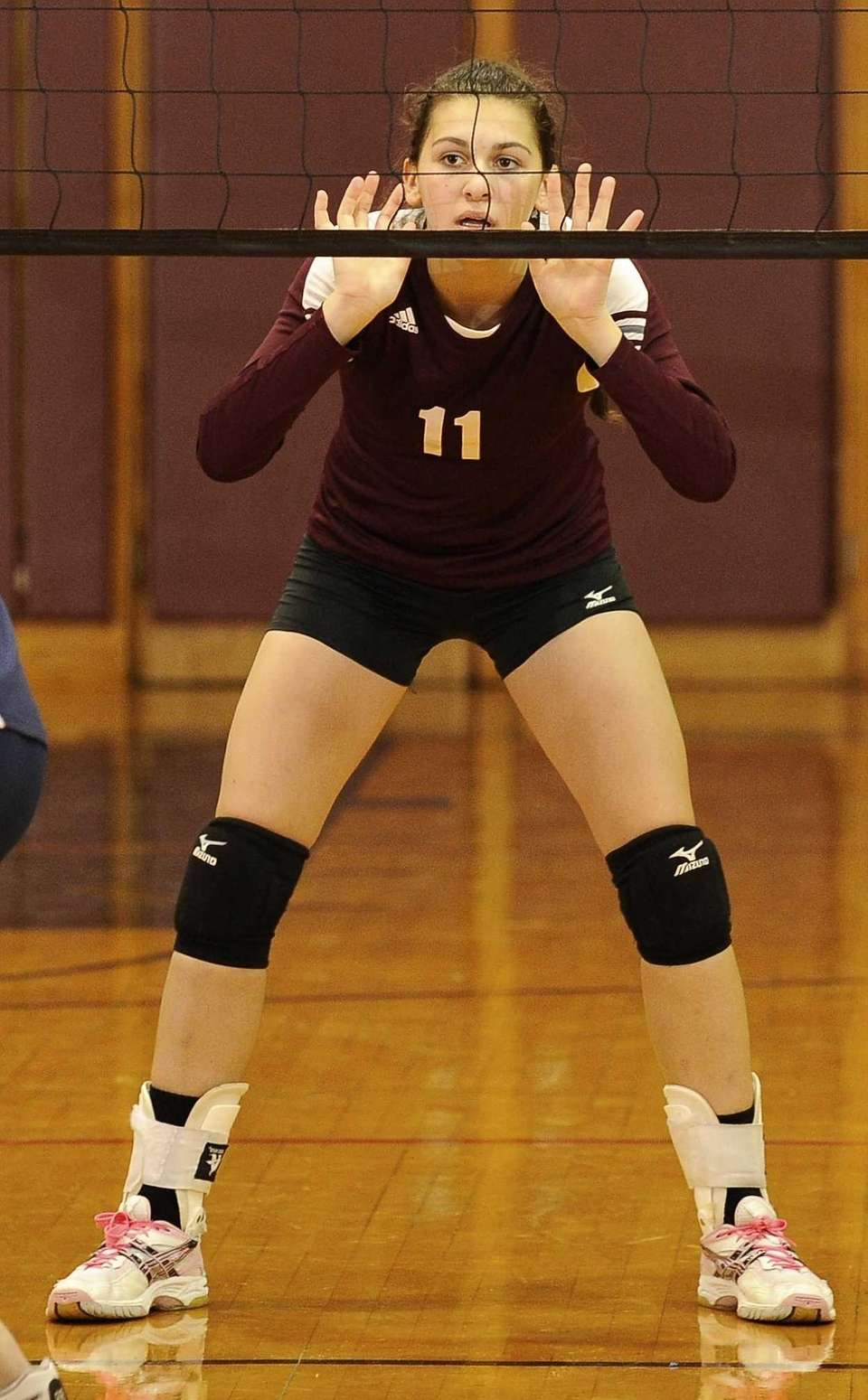 Kings Park's Emily Stephens prepares for the serve