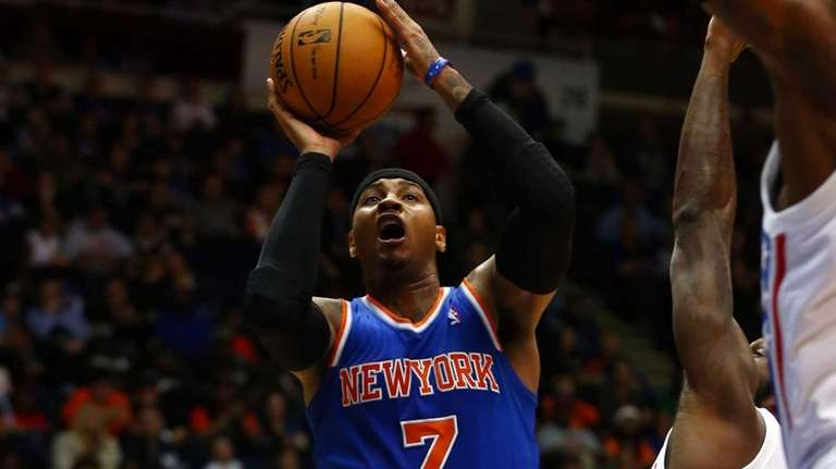 Carmelo Anthony of the New York Knicks attempts