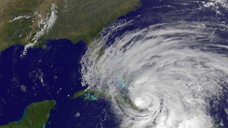 This NOAA GOES satellite image shows Hurricane Sandy.