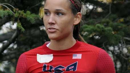 Olympic hurdler Lolo Jones waits for her run