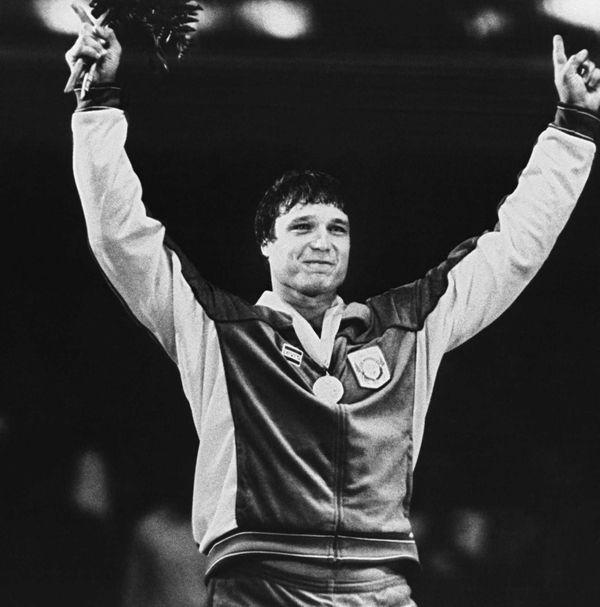 Greco-Roman wrestling gold medalist Jeff Blatnick gestures during