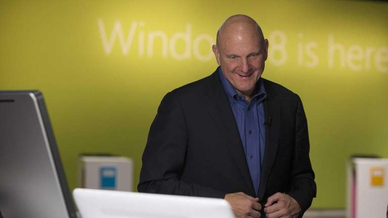 Microsoft chief executive Steve Ballmer looks over a