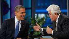 President Barack Obama chats with host Jay Leno
