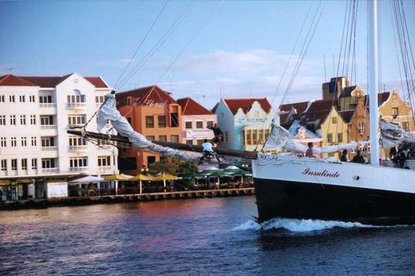 A small ferry in the Willemstaad, Curacao, harbor.