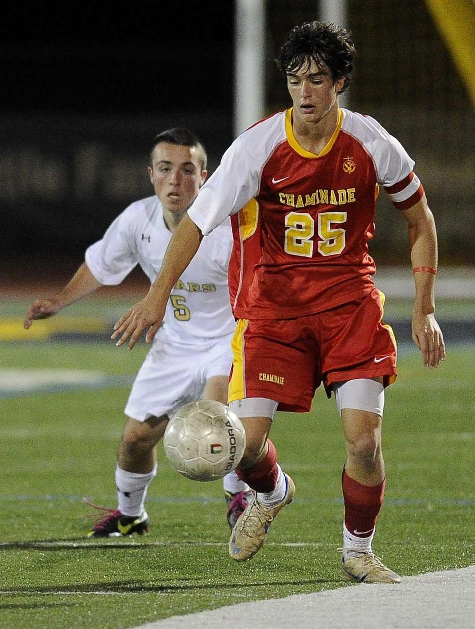 Chaminade's Joseph Randazzo controls the ball ahead of