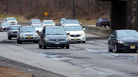 Potholes along the Northern State Parkway Westbound in
