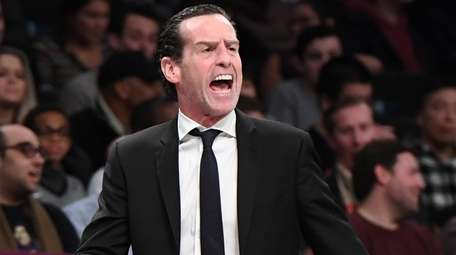 Brooklyn Nets head coach Kenny Atkinson reacts against