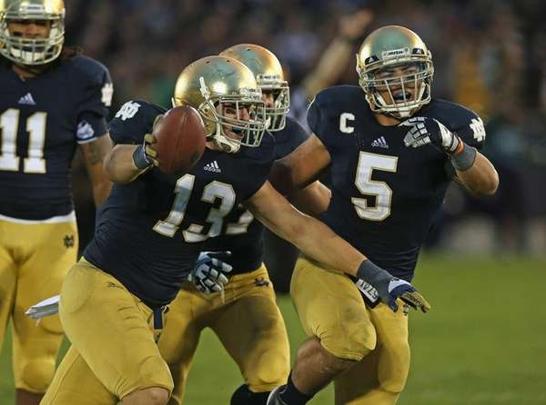 Danny Spond, No. 13, of the Notre Dame