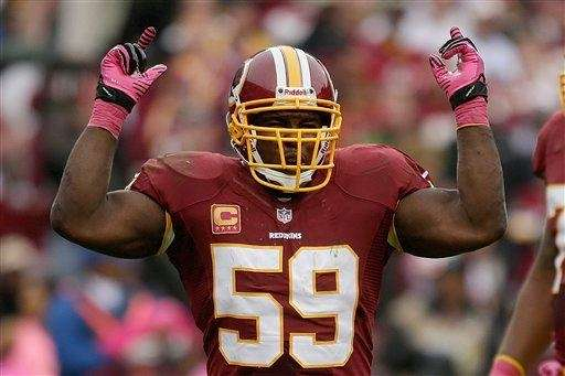 Washington Redskins inside linebacker London Fletcher reacts to