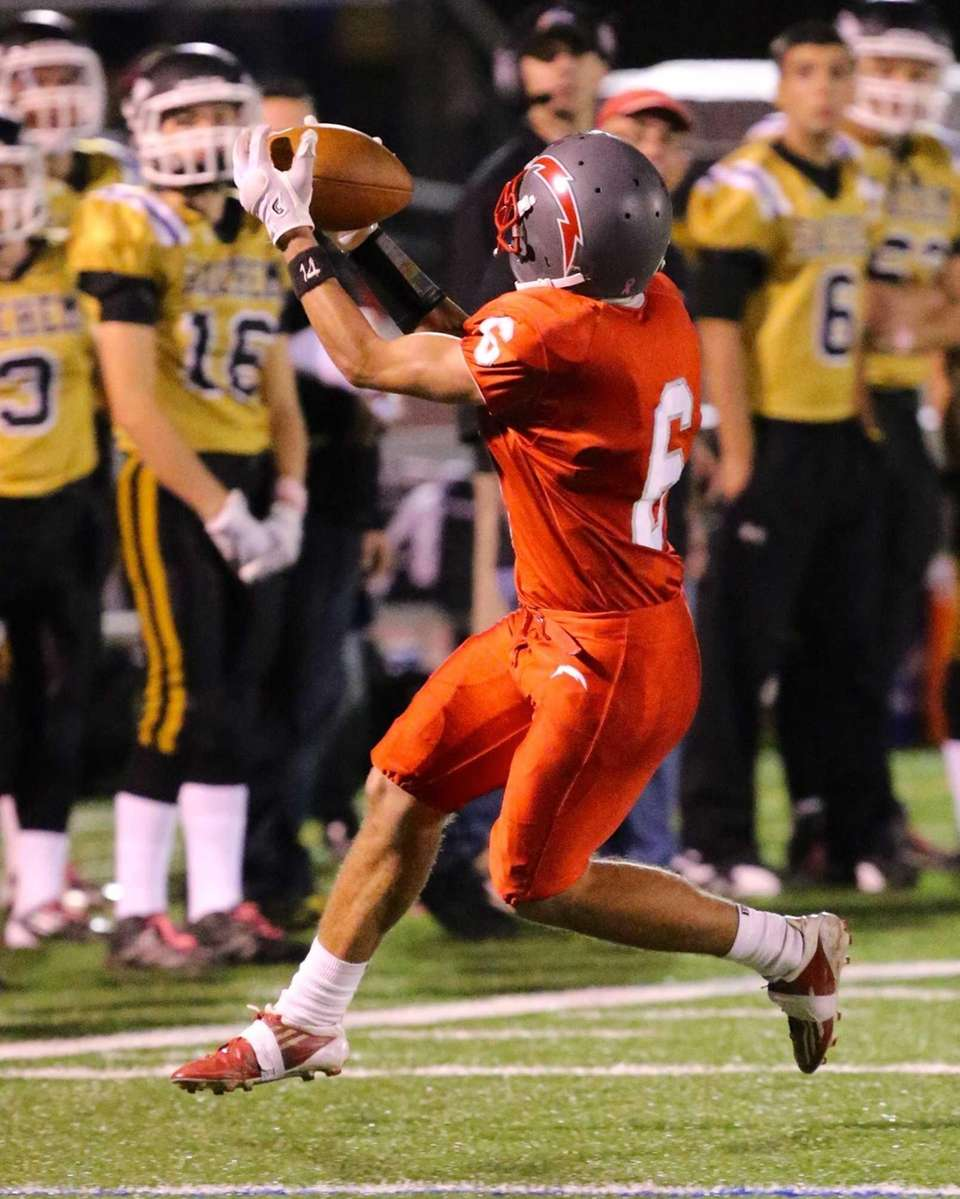 Connetquot's Tyler Nason makes a catch on the